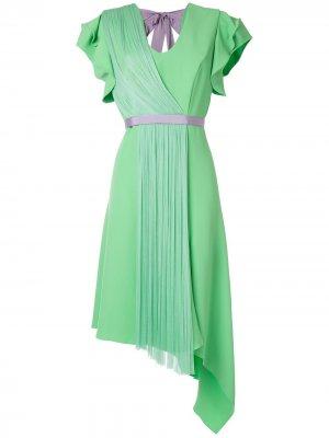 Платье асимметричного кроя со складками Delpozo. Цвет: зеленый