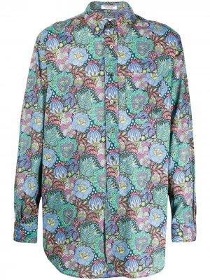 Рубашка с цветочным принтом Engineered Garments. Цвет: синий