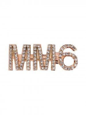 Заколка для волос с кристаллами MM6 Maison Margiela. Цвет: золотистый