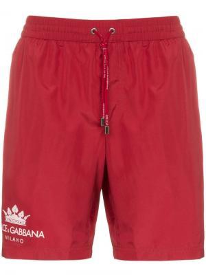 Пляжные шорты с логотипом Dolce & Gabbana. Цвет: красный