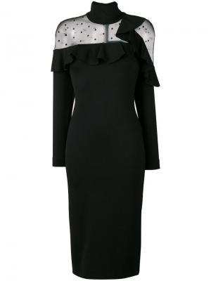 Sheer panel ruffle dress Ki6. Цвет: черный
