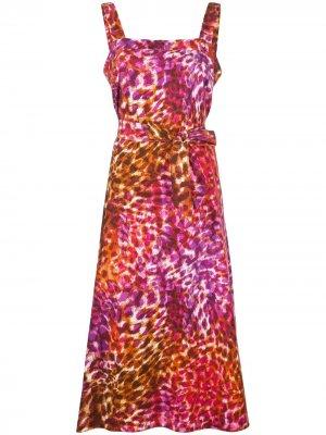 Платье с леопардовым принтом и завязками Natori. Цвет: красный