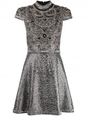 Вечернее платье мини Floretta Alice+Olivia. Цвет: серебристый