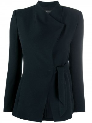 Пиджак строгого кроя с завязками Emporio Armani. Цвет: синий
