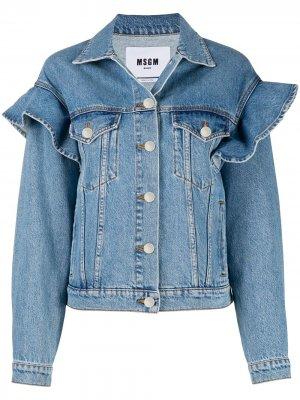 Джинсовая куртка с оборками MSGM. Цвет: синий