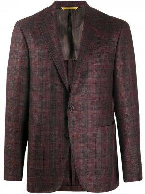 Однобортный пиджак в клетку тартан Canali. Цвет: красный