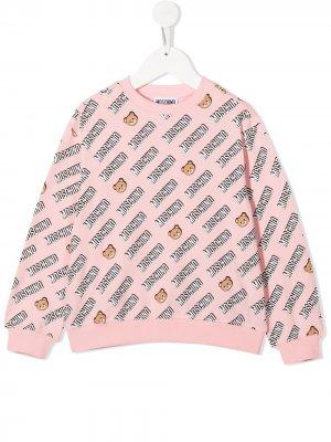 Джемпер с логотипом Moschino Kids. Цвет: розовый