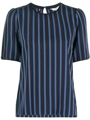 Полосатая блузка с круглым вырезом Tommy Hilfiger. Цвет: синий