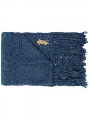 Шарф с вышивкой TWINSET. Цвет: синий