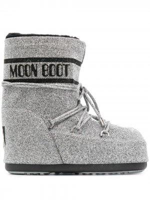 Ботинки с эффектом металлик Moon Boot. Цвет: серебристый