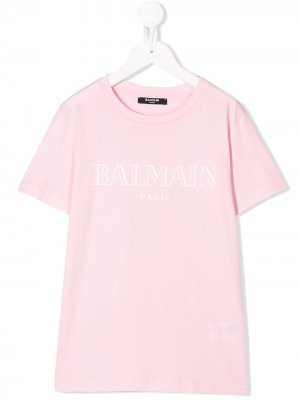 Футболка с логотипом Balmain Kids. Цвет: розовый