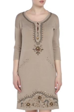 Платье Maria Grazia Severi. Цвет: бежевый