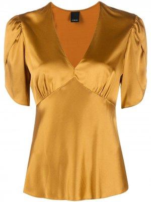 Блузка с эффектом металлик Pinko. Цвет: желтый