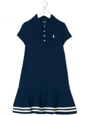 Платье-поло с полосками на подоле Ralph Lauren Kids. Цвет: синий