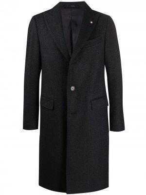 Однобортное пальто Lardini. Цвет: синий