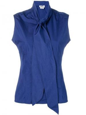 Рубашка с горловиной на завязке Hermès Vintage. Цвет: синий