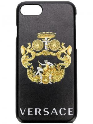 Чехол для Iphone 7/8 с эмблемой Versace. Цвет: черный