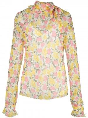 Полупрозрачная блузка с цветочным принтом Jason Wu Collection. Цвет: желтый