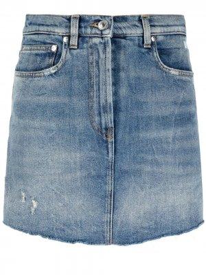 Джинсовая юбка-шорты с вышитым логотипом MSGM. Цвет: синий