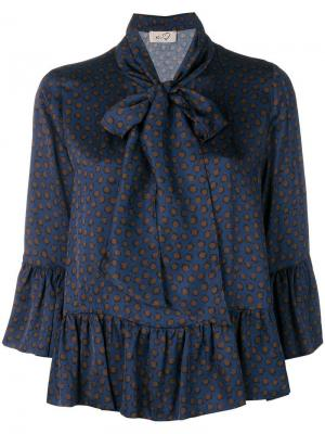 Pussy bow peplum blouse Ki6. Цвет: синий
