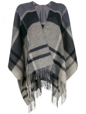 Клетчатый шарф Barbour. Цвет: серый