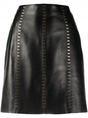 Юбка мини с металлическим декором Alexander McQueen. Цвет: черный