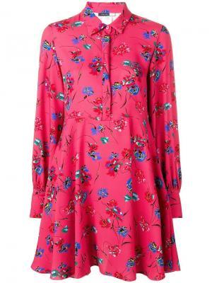 Короткое платье-рубашка с цветочным принтом Sport Max Code. Цвет: розовый
