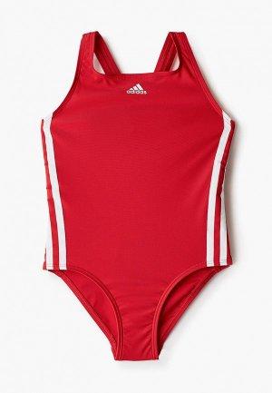 Купальник adidas. Цвет: красный