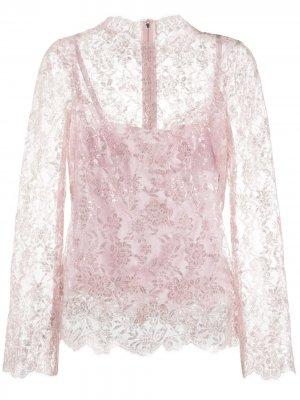 Кружевная блузка с блестками Dolce & Gabbana. Цвет: розовый
