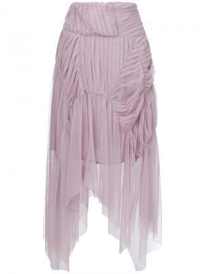 Плиссированная юбка асимметричного кроя Preen By Thornton Bregazzi. Цвет: розовый