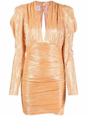 Плиссированное платье с глубоким V-образным вырезом Sabina Musayev. Цвет: оранжевый