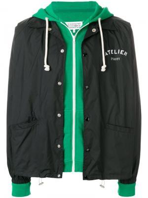 Куртка-бомбер с логотипом Maison Margiela. Цвет: черный