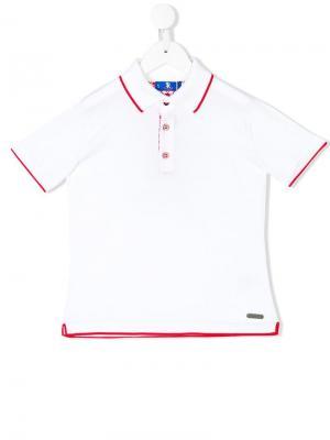 Рубашка-поло с контрастной окантовкой Stefano Ricci Kids. Цвет: белый