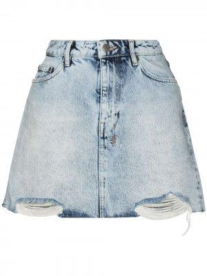Джинсовая юбка мини Ksubi. Цвет: синий