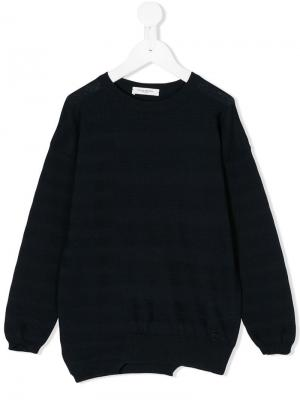 Вязаный асимметричный свитер Paolo Pecora Kids. Цвет: синий