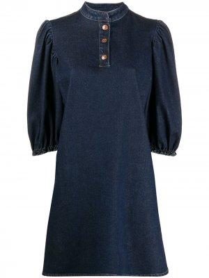 Джинсовое платье с объемными рукавами See by Chloé. Цвет: синий