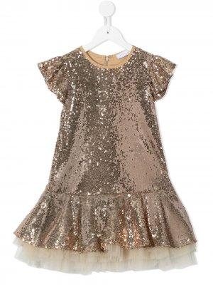 Платье А-силуэта из тюля с пайетками Monnalisa. Цвет: коричневый