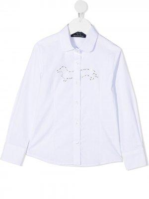 Рубашка с длинными рукавами и искусственным жемчугом Harmont & Blaine Junior. Цвет: белый