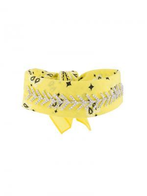 Чокер-бандана с кристаллами Fallon. Цвет: желтый