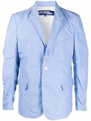 Однобортный пиджак с нашивками на локтях Junya Watanabe MAN. Цвет: синий