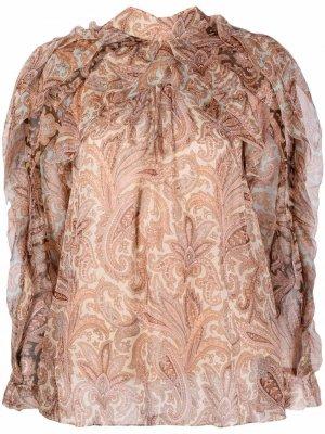 Многослойная блузка с принтом пейсли Zimmermann. Цвет: нейтральные цвета