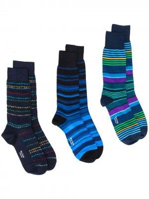 Комплект полосатых носков PAUL SMITH. Цвет: синий