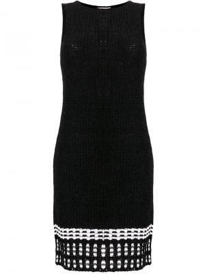 Вязаное платье с контрастной отделкой на подоле Charlott. Цвет: черный