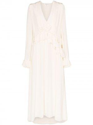 Платье миди с оборками Victoria Beckham. Цвет: белый