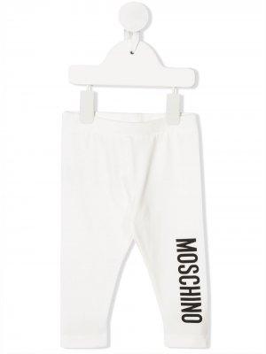Легинсы с логотипом Moschino Kids. Цвет: белый