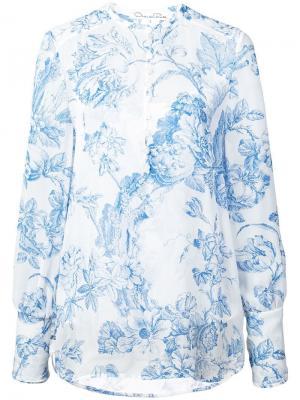 Рубашка с цветочным принтом Oscar de la Renta. Цвет: белый
