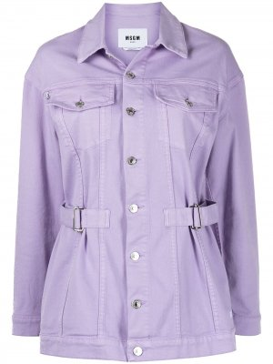 Джинсовая куртка с поясом MSGM. Цвет: фиолетовый
