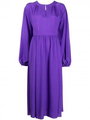 Платье миди с объемными рукавами DVF Diane von Furstenberg. Цвет: фиолетовый