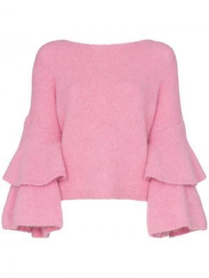 Трикотажный джемпер с трикотажными рукавами By Timo. Цвет: розовый