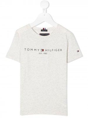 Футболка с логотипом Tommy Hilfiger Junior. Цвет: серый